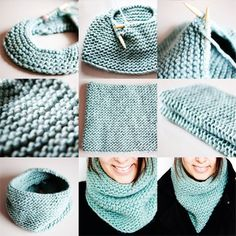 Free pattern for turquoise garter stitch one-piece knitted cowl, knit in the round. I am just loving this color lately, and it's so soft in this heavy yarn! Knit with Bernat Roving Yarn, on US 13 needles. Loom Knitting, Free Knitting, Beginner Knitting, Knitting Club, Start Knitting, Vintage Knitting, Point Mousse, Knit In The Round, How To Purl Knit