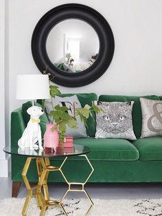 IKEA Stockholm green velvet sofa. Right on trend!