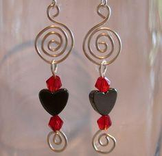 Heart Spiral Pierced Earrings Hematite by ArianrhodWolfchild