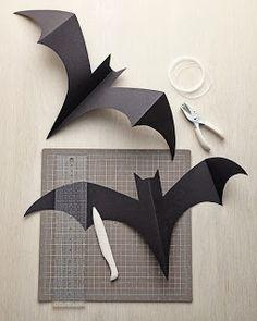 Halloween crafts, paper bats, hanging bats, halloween decor
