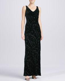Carmen Marc Valvo Cowl-Neck Velvet Gown