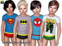 Sleepwear for children boys - (Outfit)  Found in TSR Category 'Sims 3 Male Clothing'