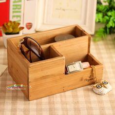 $6 The Japanese incorporation wooden groceries office desktop storage box pen holder creative desktop remote control-ZZKKO