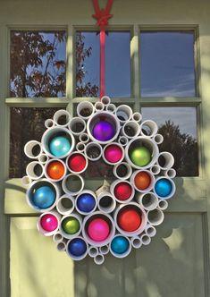 Holiday Wreath - PVC Wall Art Easter Wreaths, Holiday Wreaths, Holiday Crafts, Whoville Christmas, Christmas Crafts, Christmas Ideas, Wall Decals, Wall Art, Pvc Wall