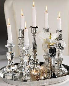 SIlver candlesticks gathered on a tray. by beatriz Silver Candlesticks, Silver Trays, Wedding Decorations, Christmas Decorations, Table Decorations, Tray Styling, Event Styling, Deco Table, Candle Lanterns