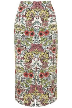 Poppy Garden Print Midi Skirt