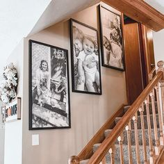 """""""Obsessed is an understatement! blowing me away 💕Nothing could make the staircase more perfect! I chose pictures that I thought represented our family: Happy to be together in our day to day life 🖤"""" -Thanks for sharing Stairway Photos, Staircase Pictures, Gallery Wall Staircase, Staircase Wall Decor, Stairway Decorating, Picture Wall Staircase, Stairway Walls, Picture Walls, Decorating Ideas"""