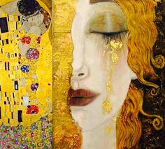 For clarity, this painting is often attributed to Klimt, but was not painted by him. This painting, 'Freya's Tears' was painted by French artist Anne-Marie Zilberman in the style of Klimt. Gustav Klimt, Art Klimt, Art Amour, Street Art, Fine Art, Art Design, Interior Design, Art Plastique, Oeuvre D'art