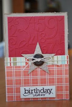 "Star birthday--think I'll change up the colors...would make a great ""guy"" card!"