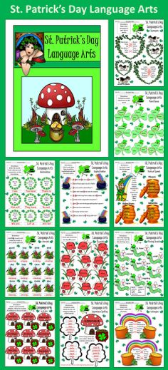 St. Patrick's Day Language Arts Packet: A colorful St Patrick's Day Language Arts packet packed with many grammar exercises.  Contents include: * Contractions Worksheets * Plural Nouns Worksheet * Synonyms Worksheet * Antonyms Worksheet * End Marks Worksheet * Capitalization Worksheet * Parts Of Speech Worksheet * Gerunds Worksheet * SH Worksheet * Missing Sound Worksheet * Syllables Worksheet * Spelling Activity * Letter Cards for Spelling Activity * Irish Blessing Worksheet * Answer Keys