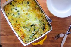 This is a wonderfully easy brunch recipe that brings to mind decadent spinach artichoke dip without the guilt. In fact you can assemble the entire dish the evening before, wake up, throw it in the oven, and have a fancy pants breakfast in less than an hour...