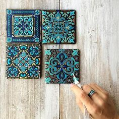 62 Super Ideas For Bathroom Art Diy Craft Projects Dot Art Painting, Mandala Painting, Ceramic Painting, Painting Patterns, Painting On Tiles, Blue Painting, Painting Abstract, Acrylic Paintings, Diy Craft Projects