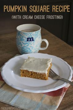 Pumpkin Squares with Cream Cheese Frosting Recipe {The BEST!} – The Inspired Room Today we made one of our all time favorite tasty fall treats — pumpkin squares with cream cheese frosting. Baking with anything pumpkin is one of my favori Köstliche Desserts, Delicious Desserts, Dessert Recipes, Yummy Food, Chocolate Desserts, Healthy Food, Pumpkin Recipes, Fall Recipes, Yummy Recipes