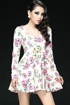 Vintage Rose A-line Dress OASAP.com The dress featuring rose print. Heart neckline. Long sleeve. A-line. #a-line #floral