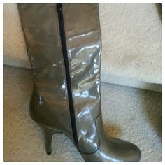 Dark slate grey boots. Super sexy! 3 1/3 inch heel Dark slate grey boots. Super sexy! 3 1/3 inch heel. BCBG worn a couple time. Doesn't fit a large calf. BCBG Shoes Heeled Boots