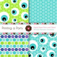 Papel digital paquete y Clip Art monstruos por Printingaparty