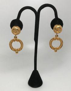 Vintage Gold Tone Christian Dior Dangle Earrings Door Knocker Design #ChristianDior