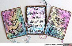 ATC's by Helen Chilton using Darkroom Door Butterfly Script Rubber Stamps