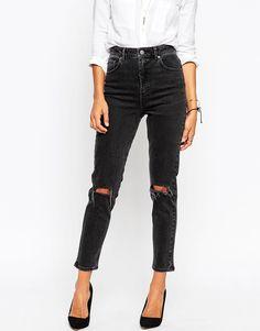 Image 1 - ASOS - Farleigh - Jean mom slim taille haute avec déchirures aux genoux - Noir délavé