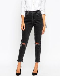 Image 1 ofASOS Farleigh High Waist Slim Mom Jeans In Washed Black with Busted Knees