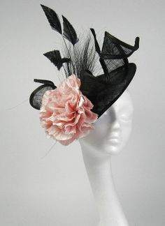 Black and Pink Fascinator Kentucky Derby or Wedding Hat