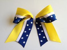 softball yellow and navy blue bow