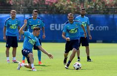 "Emanuele #Giaccherini (L) and Leonardo Bonucci of Italy compete for the ball during the training session at ""Bernard Gasset"" Training Center on June 29, 2016 in Montpellier, France."