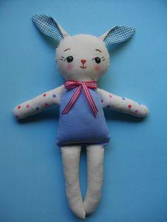 KAWAII BUNNY plushie - Handmade vintage-inspired plush toy rag doll christmas gift baby toy ZAKKA via Etsy