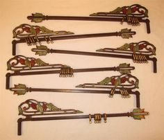 SIX Vintage ART DECO Swing Arm Cast Iron CURTAIN RODS Drapery Three Pair  Antique
