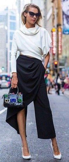 #thetrendspotter #popular #elegance #style |  White Asymmetrical Top   Black Asymmetrical Pant Skirt