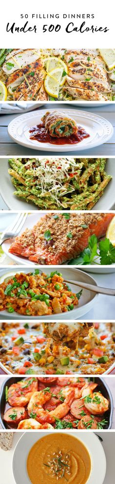 50 Filling Dinners Under 500 Calories Eat well without consuming a lot of calories. Add these meals to your weeknight dinner plan for satisfying, guilt-free options. 500 Calorie Dinners, Dinners Under 500 Calories, No Calorie Foods, Low Calorie Recipes, Diet Recipes, Healthy Recipes, Calorie Intake, Filling Low Calorie Meals, Healthy Filling Meals