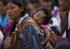 Babywearing in Bhutan.