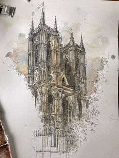 Excited to share the latest addition to my shop: Original watercolor Westminster Abbey London Watercolor Architecture, Architecture Sketchbook, Arte Sketchbook, Art And Architecture, Pen And Watercolor, Watercolor Illustration, A Level Art, Urban Sketching, Art Museum