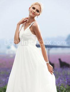 A-line V-neck Floor-length Chiffon Wedding Dress