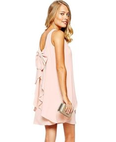 bcc2e8e8e082 Asymmetric Cut Back Bow Loose Chiffon Dress img