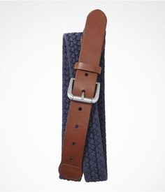 Express Mens Leather Tabbed Braided Cotton Belt Navy, 30