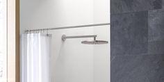 Duschvorhangstange massiv gerade für Nischen. Design Duschvorhangstange von Wand zu Wand in Edelstahl DSN12