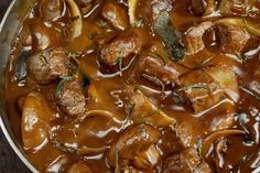 This popular saucy beef and noodles is an easy recipe to prepare and cook in the slow cooker. Condensed soup helps to keep the sauce thick over the long cooking time.