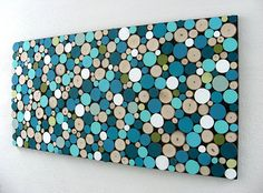 Abstract Painting Circles Wood Slice Wall Art by ModernRusticArt