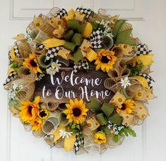 Sunflower wreath, welcome wreath, summer wreath, welcome to our home wreath, sunflower burlap wreath