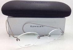 b74ad03e002 New KAZUO KAWASAKI Eyeglasses KK 633 Antique Gold  Saddle Bridge   Cable  Temples