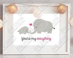 You're My Everything Baby and Mama Elephant Custom DIY Iron On Vinyl Nursery Art…