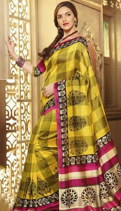 A Yellow Color Bhagalpuri Silk Designer Bollywood Saree featuring broad checks, contrasting border and flower prints Yellow Shop, Yellow Art, Color Yellow, Celebrity Style Casual, Saree Shopping, Ethnic Dress, Bollywood Saree, Party Wear Sarees, Printed Sarees