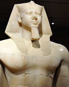 Colossal statue of Egyptian pharaoh Menkaura at Boston Museum of Fine Arts.
