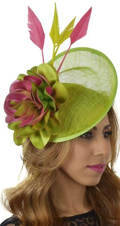 Lime Green + Fuchsia Pink Gulhi Saucer Hat Fascinator Headpiece Hatinator, for Kentucky Derby, Del Mar, Epsom, Royal Ascot, Melbourne Cup Races. Day at the Races, Dubai World Cup fashion outfit ideas + inspiration. Summer wedding guest outfits, or Mother of the bride. Fashions on the Field. #kentuckyderby #royalascot #bridal #fascinators #springwedding #ascotoutfits #weddingguest #millinery #derbyoutfits #racingfashion #ascothats #derbyhats #etsyfinds #affiliatelink #melbournecup…