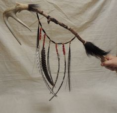 Mohawk/Powwow/Native American/Dance Staff/Coup Stick/ War Club/ with Bear Totem by TheOwlandtheCrow on Etsy Native American Games, American War, Native American Jewelry, Steve Black, Mesquite Tree, Bear Totem, Turkey Feathers, Red Felt, Pow Wow