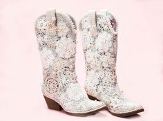 White Cowgirl Boots Grace By Heartenhandknits On Etsy