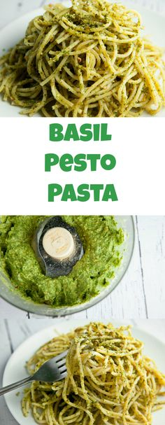 This Basil Pesto Pasta recipe is made with fresh basil and almonds. It tastes delicious! Pine nuts are expensive so this is a much more cost effective pesto.