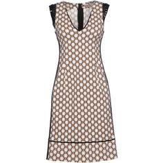 Schumacher Short Dress (£55) ❤ liked on Polyvore featuring dresses, khaki, sleeveless dress, stretch dress, stretch mini dress, print mini dress and zip dress