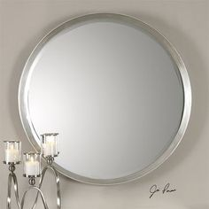 Found it at Wayfair - Serenza Round Silver Wall Mirror Mirror Ceiling, Wall Mirrors Entryway, Big Wall Mirrors, Lighted Wall Mirror, Silver Wall Mirror, Rustic Wall Mirrors, Round Wall Mirror, Round Mirrors, Mirror Bedroom